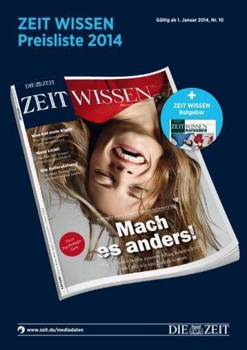 ZEIT WISSEN - Mediadaten 2014 - IQ media marketing