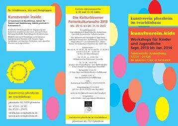 kunstverein.kids, Workshops für Kinder und Jugendliche, September ...