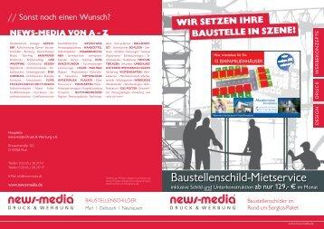 baustellenschild-Mietservice - news-media Druck und Werbung