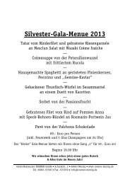 Silvester-Gala-Menue 2013 - vegetarisch - Hotel Restaurant Roemer