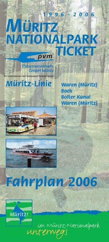 Fahrplan 2006 MÜRITZ NATIONALPARK TICKET
