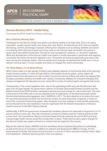 German Elections 2013: Health Policy - APCO Worldwide