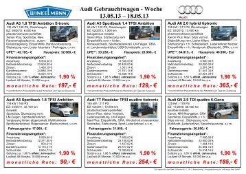 Audi Gebrauchtwagen - Woche 13.05.13 – 18.05.13 - Autohaus ...
