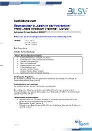 """Ausbildung zum Übungsleiter-B """"Sport in der Prävention"""" Profil - blsv"""