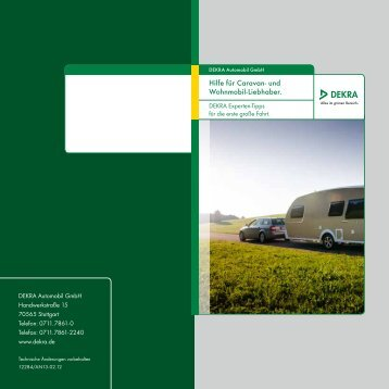 Ratgeber Caravan und Wohnmobil - Dekra