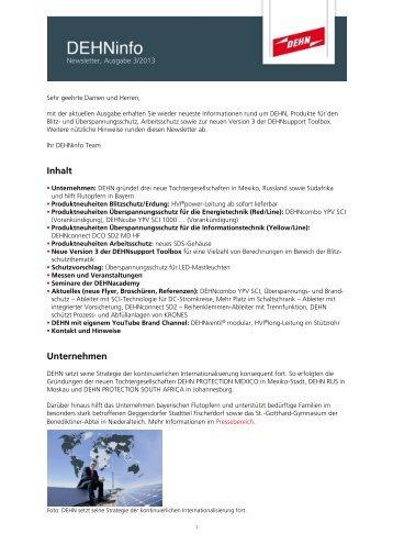 DEHNinfo Ausgabe 3/2013 im Format PDF