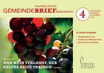 Gemeindebrief 4 September bis November 2013 - Evangelische ...