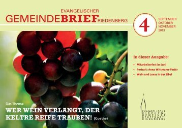 Gemeindebrief 4 September bis November 2013 - Evangelische ...