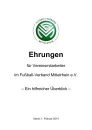 Ehrungen im Überblick - Fußball-Verband Mittelrhein e.V.