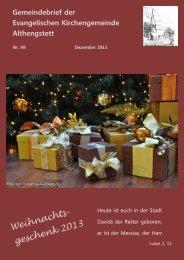 Gemeindebrief Nr. 99 Dezember 2013 - Evangelische ...