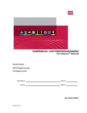 Installations- und Inbetriebnahmeplan - MTS