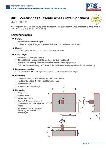 80I Zentrisches / Exzentrisches Einzelfundament