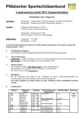 Ausschreibung Sommerbiathlon - Pfälzischer Sportschützenbund eV
