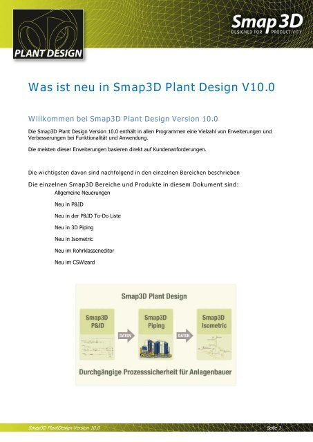 Neue Funktionen in Smap3D Plant Design V10 - Solid System Team