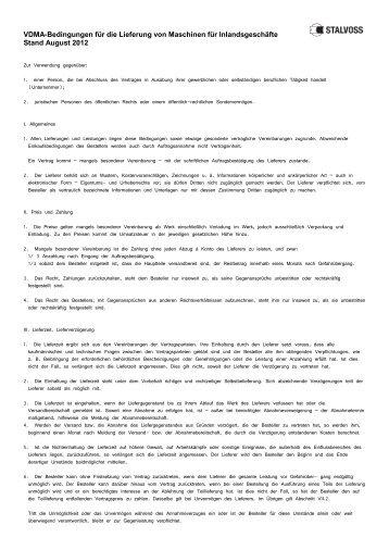 VDMA-Bedingungen für die Lieferung von Maschinen für ...