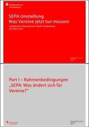 Präsentation SEPA-Infoabend für Vereine vom 18.03.2013 (Teil 1)