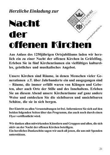 Programm Nacht der offenen Kirchen - Gräfelfing 1250 - St. Stefan ...