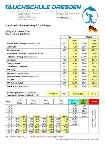 Preisliste für Mietausrüstung & Gasfüllungen gültig ab 1. Januar 2014