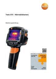 testo 870 - Wärmebildkamera, Bedienungsanleitung