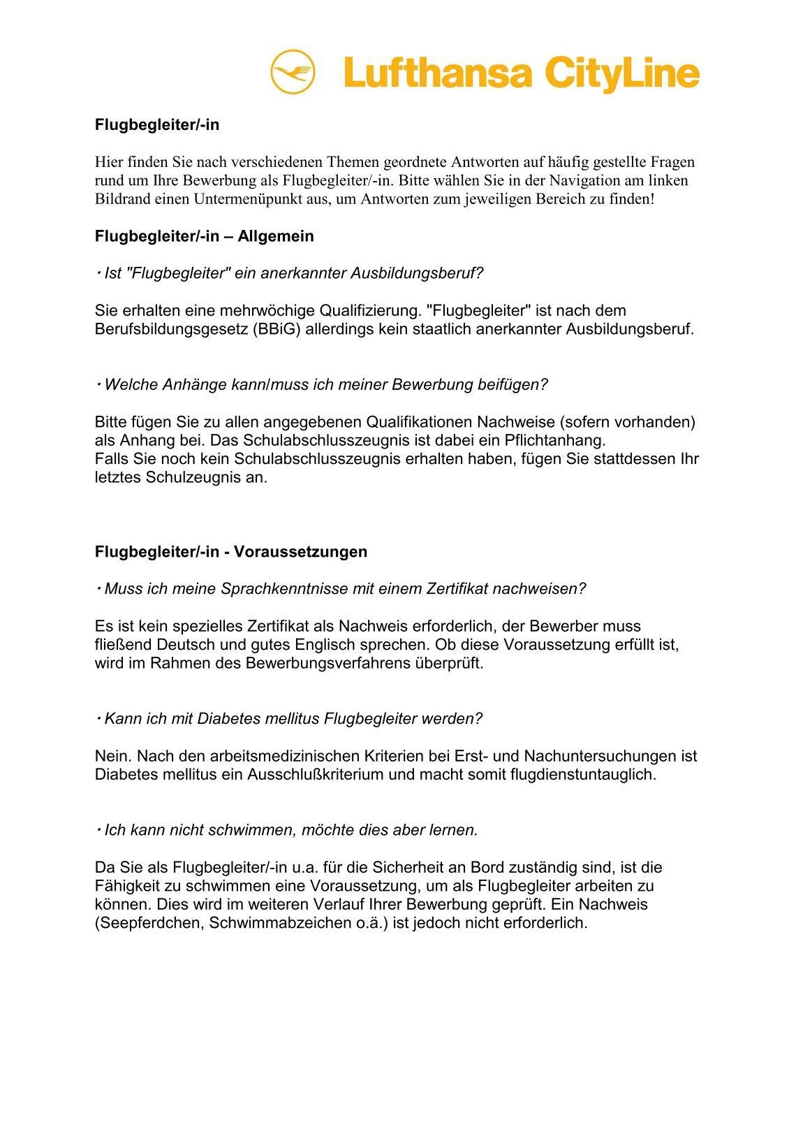 lufthansacityline - Be Lufthansacom Bewerbung