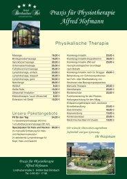 Praxis für Physiotherapie Alfred Hofmann - Hotel Birnbacher Hof