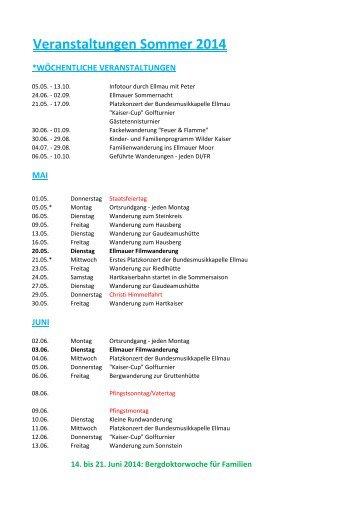 Veranstaltungen Sommer 2014 - Hotel Hochfilzer