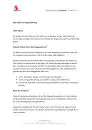 Elternbrief zur Eingewöhnung - DASI Berlin gGmbH