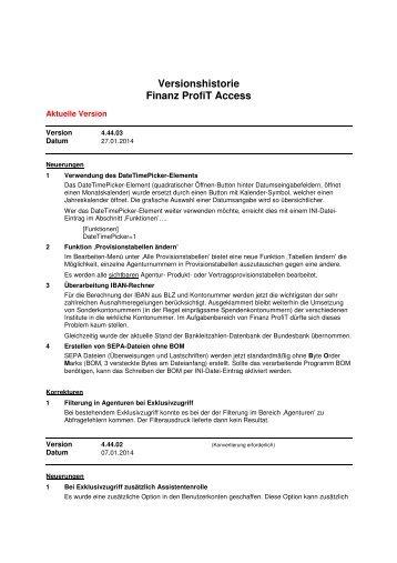Versionshistorie Finanz ProfiT Access - Implaneum GmbH