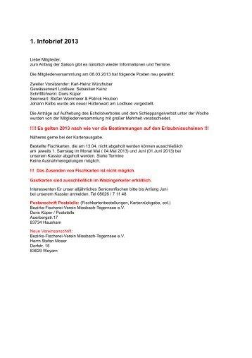 1. Infobrief 2013 - Bezirksfischereiverein Miesbach - Tegernsee eV