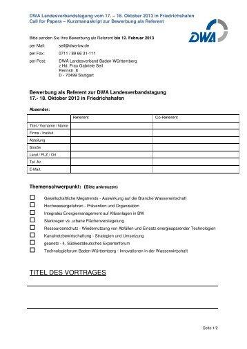 Vorlage Kurzskript zum Call for Papers LVT 2013