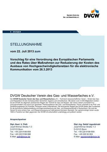 Stellungnahme des DVGW (PDF, 164 KB) - DVGW - Deutscher ...