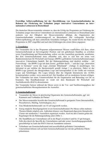 Freiwillige Selbstverpflichtung bei der Durchführung von ... - Auma