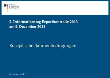 Europäische Rahmenbedingungen - Bafa