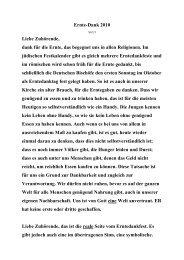 Ernte-Dank 2010 Liebe Zuhörende, dank für die Ernte, das ...