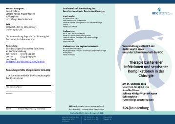 Therapie bakterieller Infektionen und septischer ... - BDC