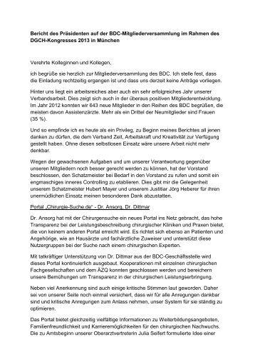Bericht des Präsidenten auf der Mitgliederversammlung 2013 - BDC