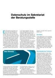 Datenschutz im Sekretariat der Beratungsstelle