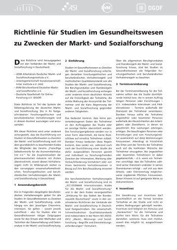 Richtlinie für Studien im Gesundheitswesen zu Zwecken der Markt ...