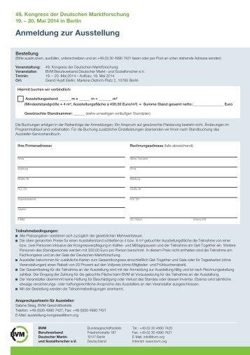 Anmeldung zur Ausstellung - Berufsverband Deutscher Markt