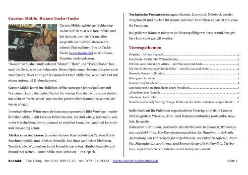 Carsten Möhles Vortragsthemen - Bwana Tucke-Tucke