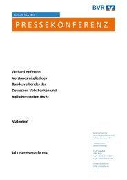 Gerhard Hofmann, Vorstandsmitglied des BVR - Bundesverband der ...