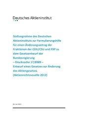 Stellungnahme des Deutschen Aktieninstituts zur Formulierungshilfe ...