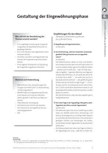 Gestaltung der Eingewöhnungsphase - Deutsches Jugendinstitut e.V.