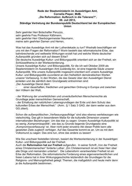 Rede von Staatsministerin Cornelia Pieper - Evangelische Kirche in ...