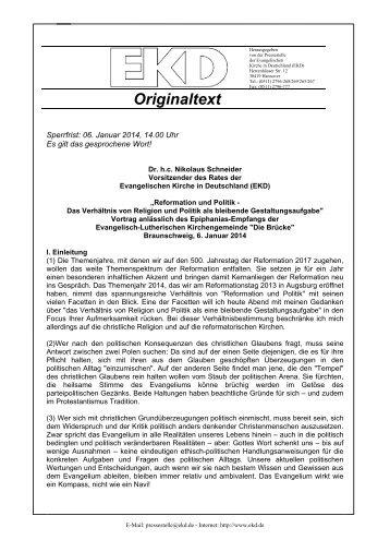 Wortlaut des Vortrages - Evangelische Kirche in Deutschland