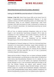 Hitachi Power Europe und Terna S.A. errichten