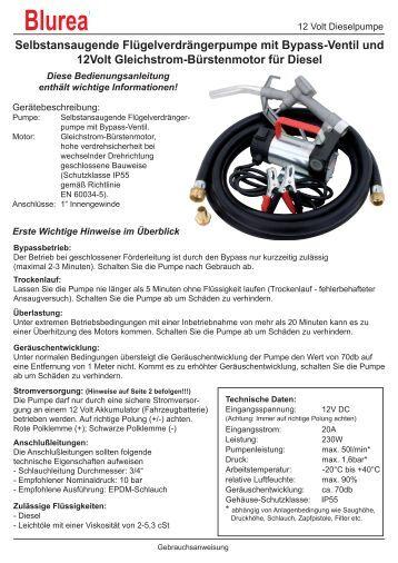 Bedienungsanleitung Pumpe