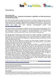 Pressemitteilung Safer Internet Day: Internet Guide für Kids ... - fsm