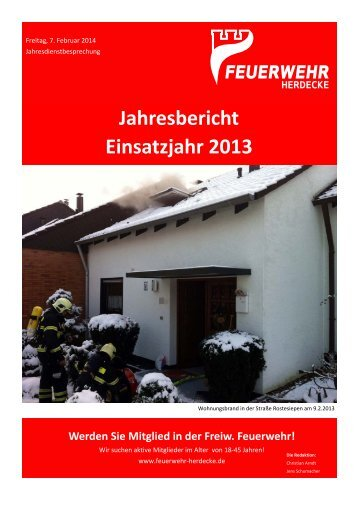 Jahresbericht Einsatzjahr 2013 - Stadt Herdecke
