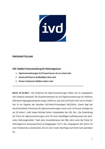 PRESSEMITTEILUNG IVD: Stabile Preisentwicklung für ...